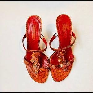 60210955e8b054 Cesare Paciotti Shoes - Cesare Paciotti Orange Snakeskin Sandals  Sz 6
